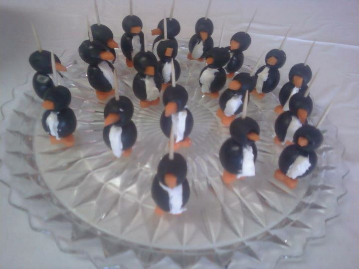 My mom made these cream cheese, olive, & carrot penguins!
