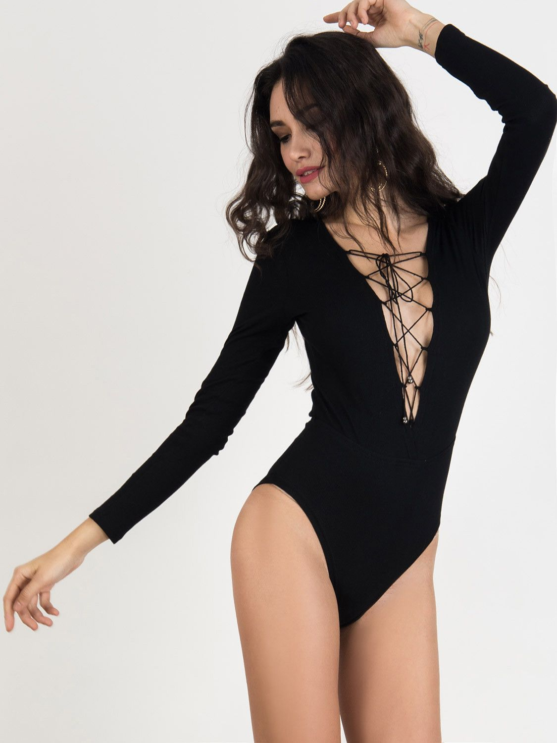 Black Lace Up Front Long Sleeve Knitted Bodysuit - chiclookcloset ... 099d717c4