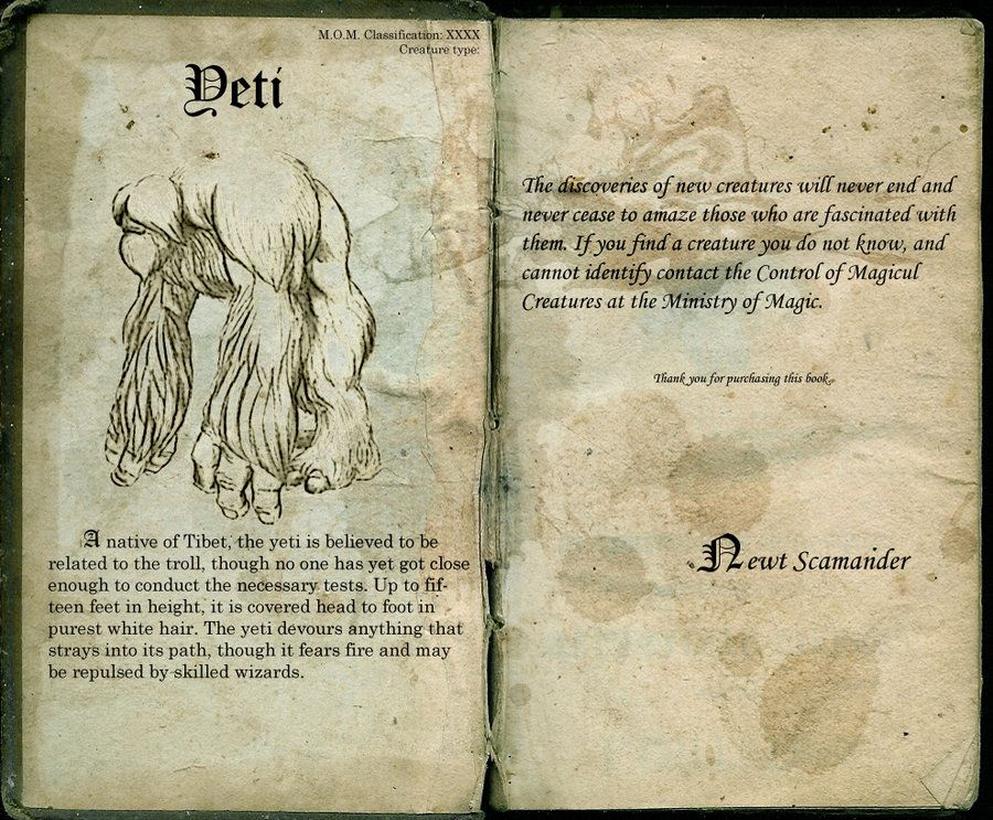 The Yeti Page 61 Harry Potter Creatures Harry Potter Fantastic Beasts Harry Potter Spells