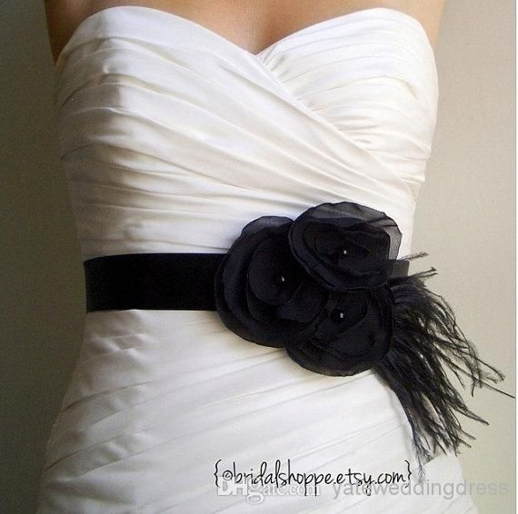 2014 Black Feather Fast Delivery Bridal Sashes With Bridal Sashes & Belts | Buy Wholesale On Line Direct from China
