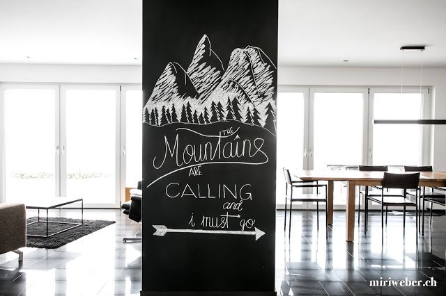 Chalkboard Berge Chalkboard Winter The Mountains Are