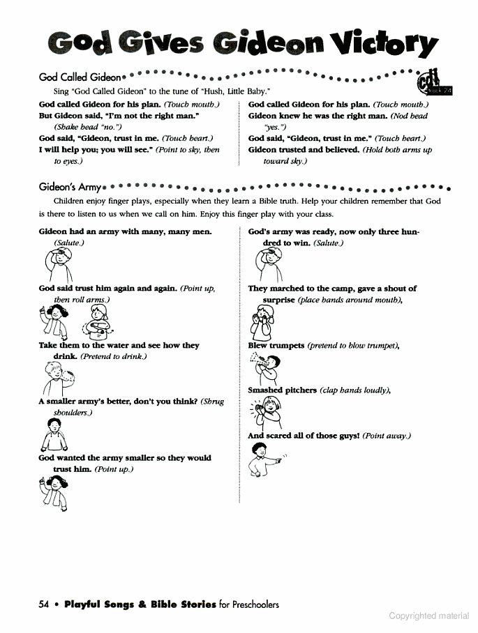 Gideon story - finger play … | bible school ideas | Pinte…