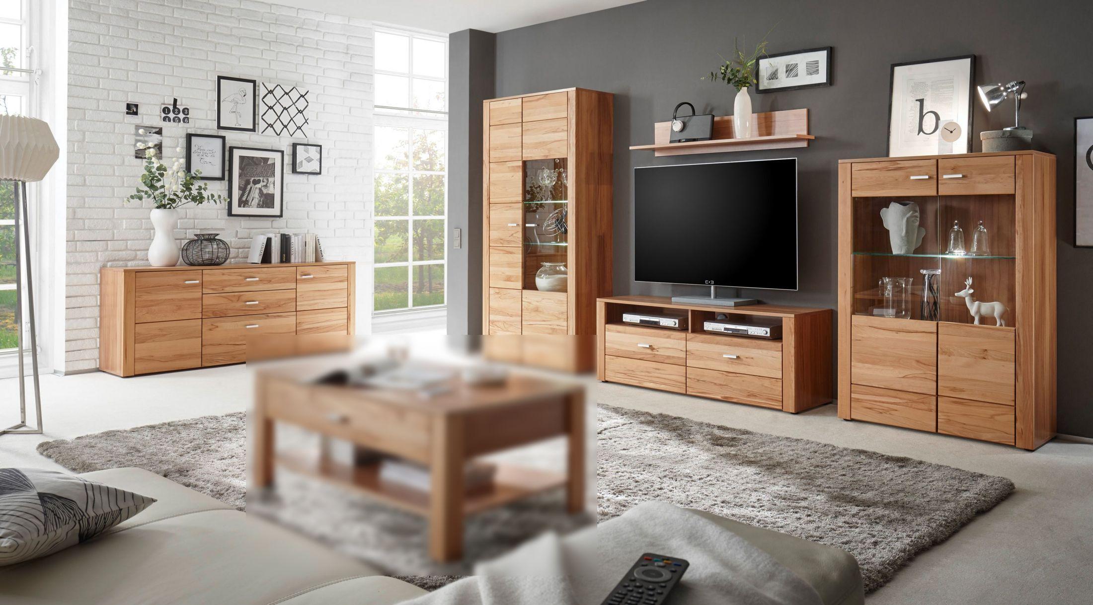 wohnwand mit sideboard kernbuche teilmassiv woody 6100181