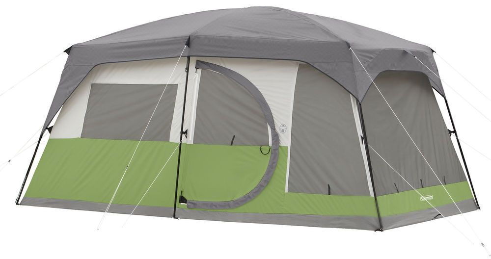 Coleman Vacationer 10 Person 15 x 10 Cabin Tent Lighted C&ing  sc 1 st  Pinterest : coleman 10 x 10 lighted canopy - memphite.com