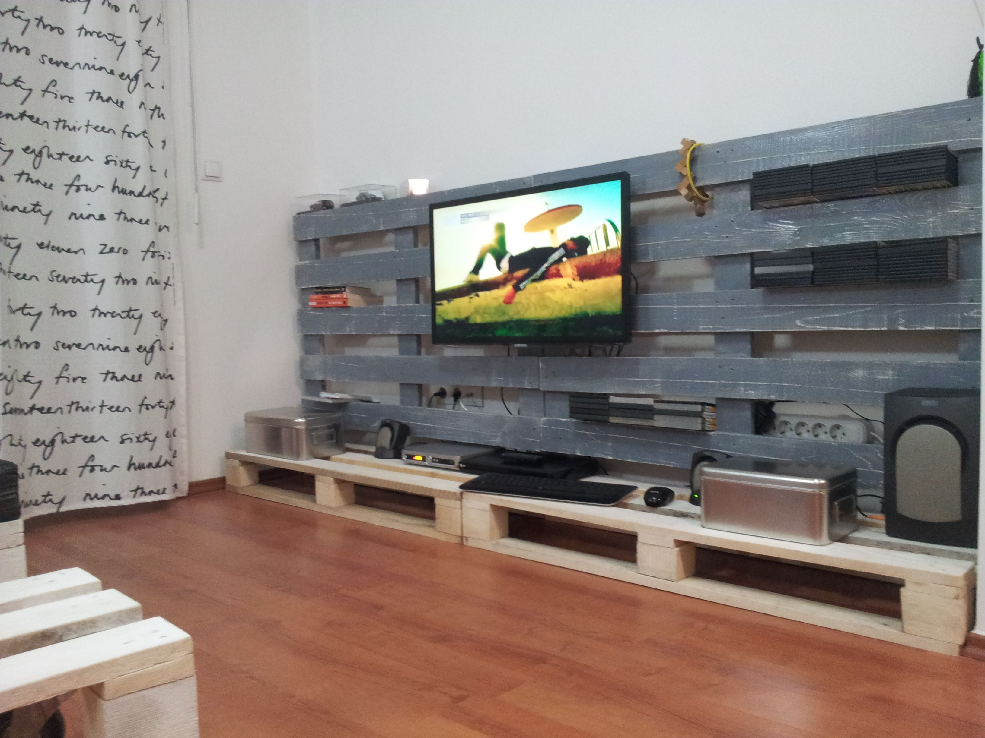 Tv Stand From Used Pallets Homemade Furniture In 2019 Homemade