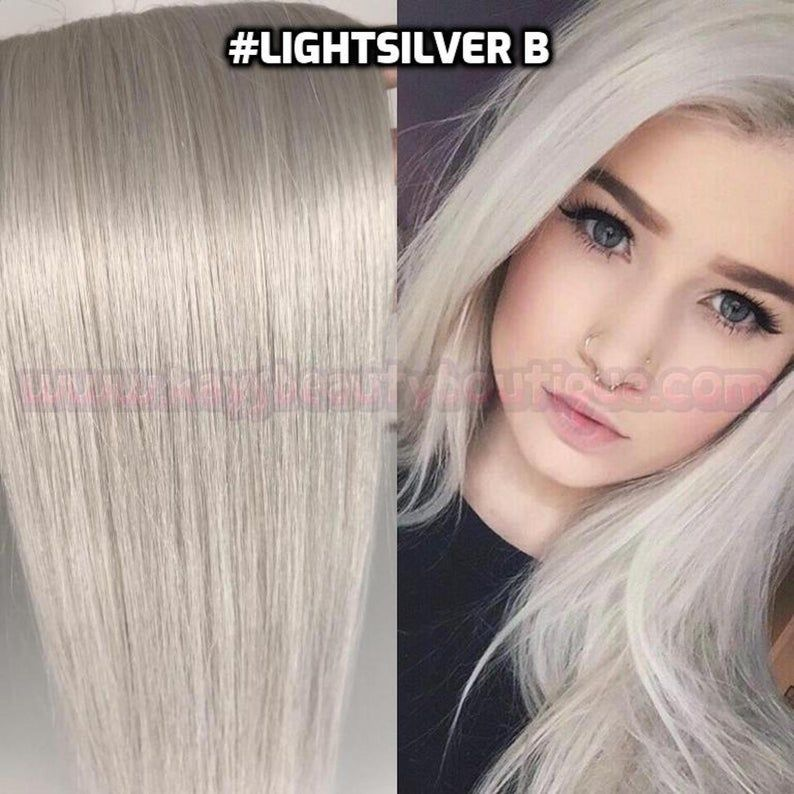 100% Human Hair HALO LightSilver White Silver Gray Icy Blonde Flip-in(Halo style) extension Hand-made #humanhairextensions