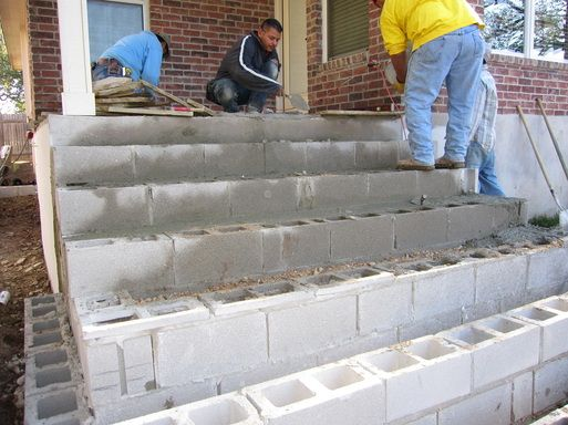 Making Steps With Cinder Blocks Stairs Concrete