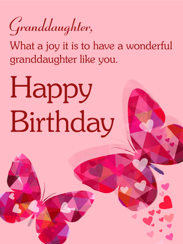 Pink Butterfly Happy Birthday Card For Granddaughter