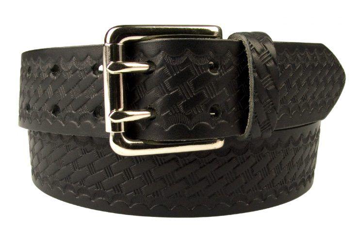 American Style Basketweave Embossed Leather Duty Belt MADE