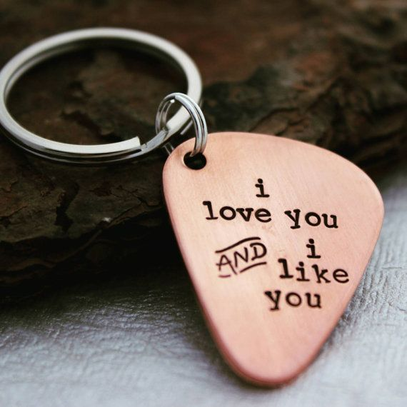 Copper Anniversary Keychain With Heart and Custom Message Love You Always and Forever