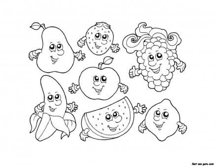 apple watermelon strawberry banana grape coloring pages printable