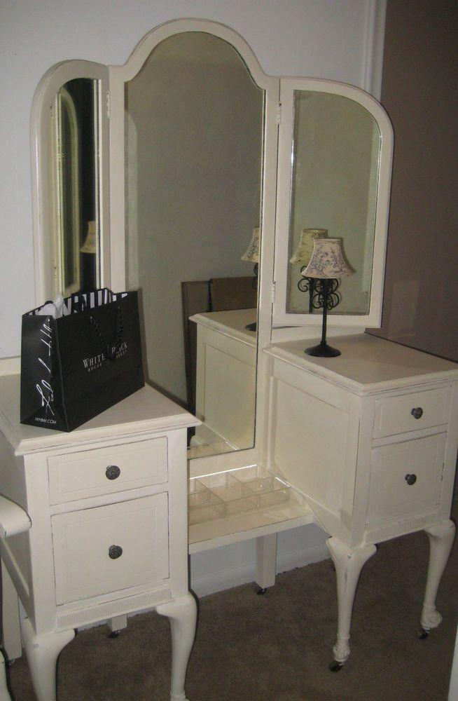 Best Antique Vanity Dresser Claw Feet Wheels Tri Fold Hinged Mirror Ascp Old White Vanities 400 x 300