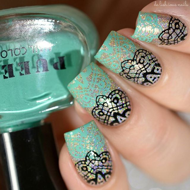 Lace Stamping Design over Gold Holo. Nail Art. | Uñas :3 | Pinterest ...