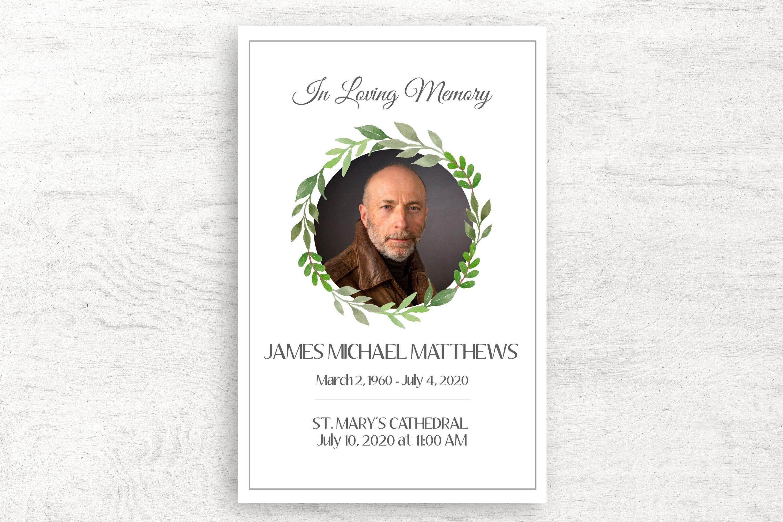 Funeral program template for man editable funeral program