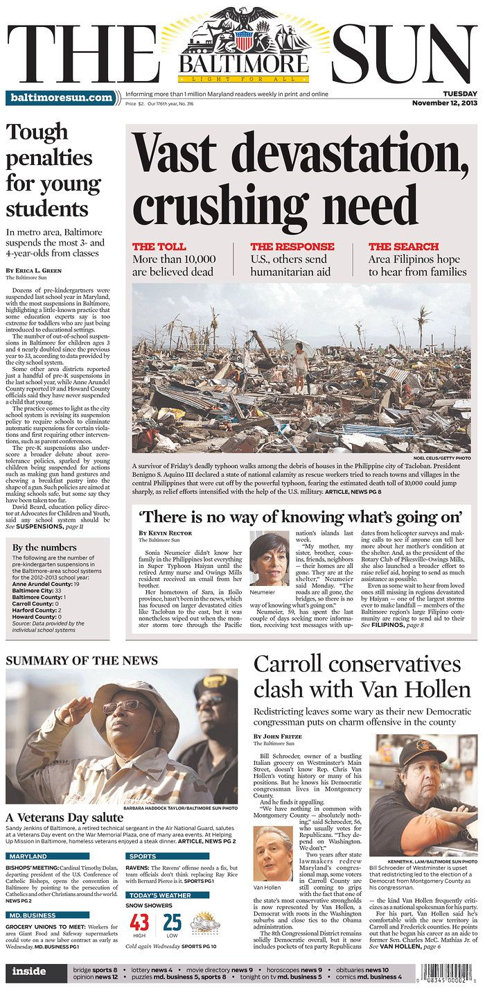 The Baltimore Sun Published In Baltimore Maryland Usa City Press Newspaper Design Newspaper Layout
