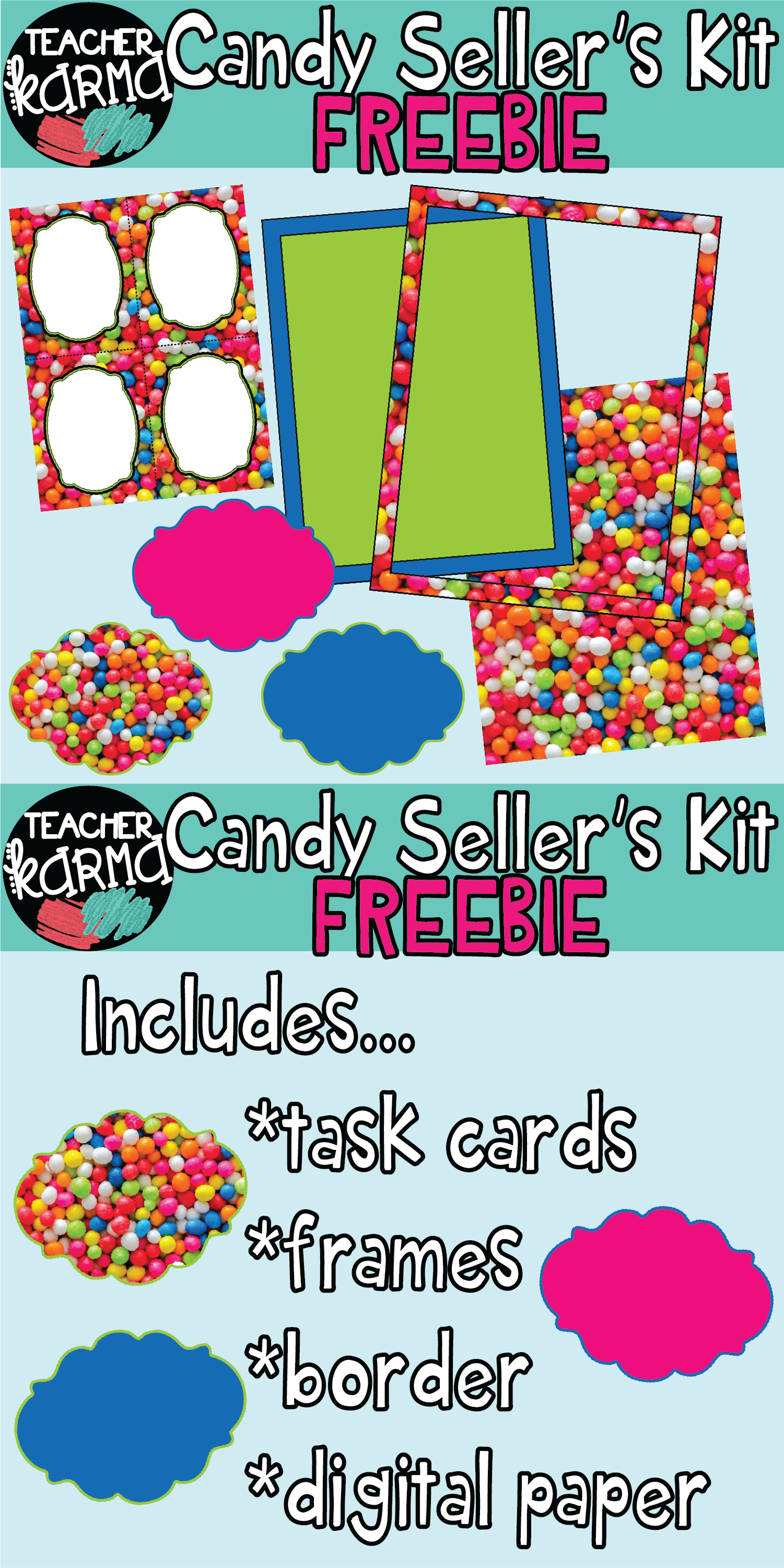 Candy Bubble Gum Graphics Kit Task Card Template Digital Papers