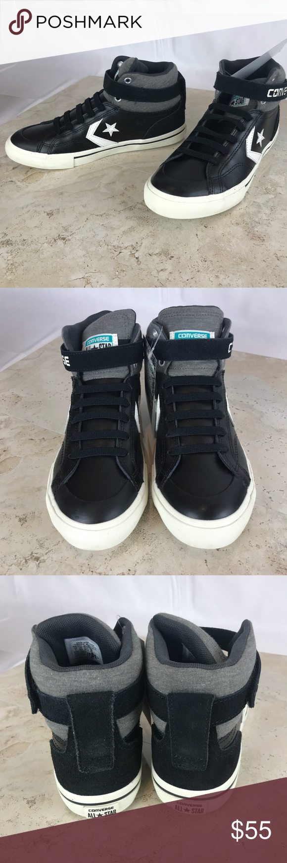 3dfe7fb966c8 Converse Pro Blaze Black Leather Hi tops NWT❣ Make an offer!❤ New in box  without top Women s size 7 7.5 - see pic for size details Converse Shoes ...