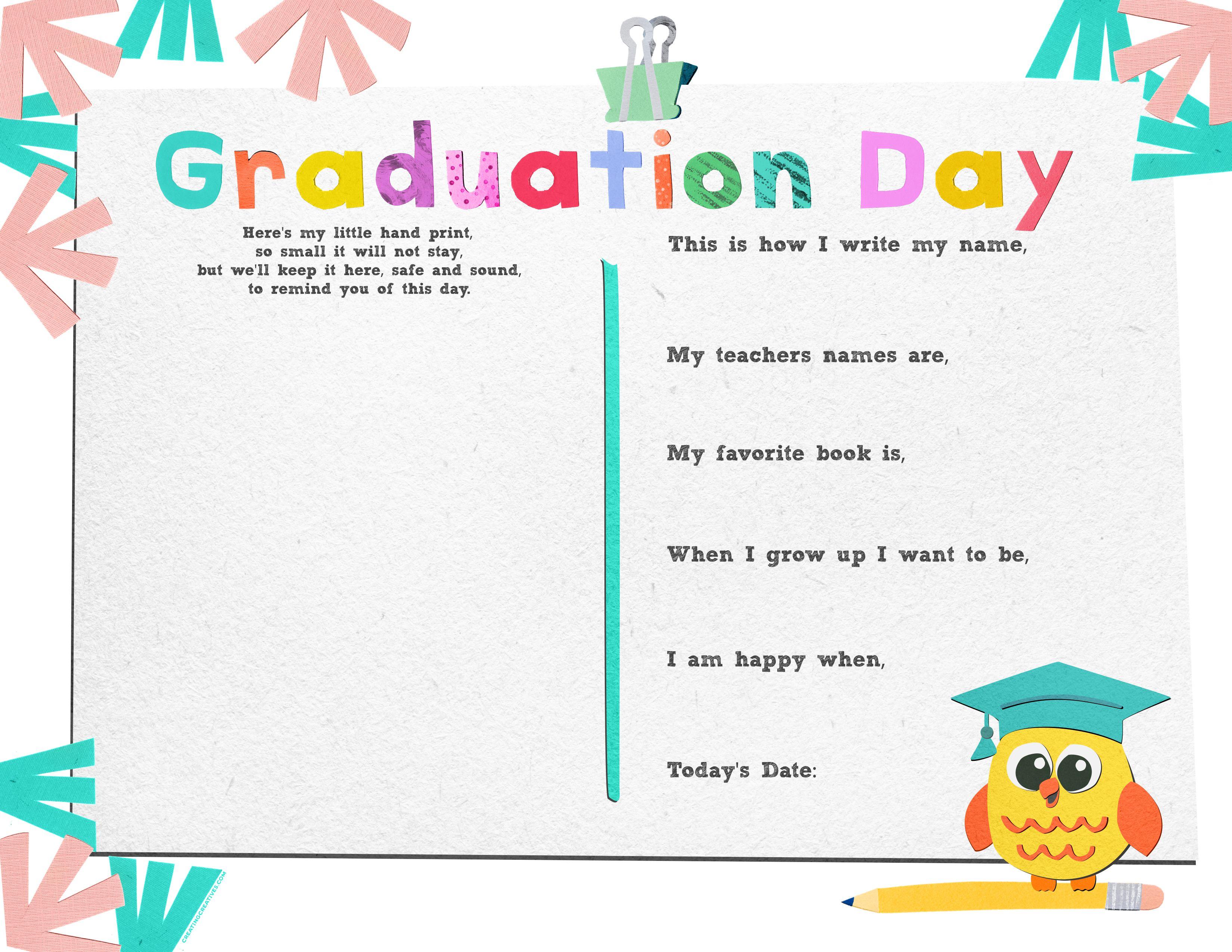 Kindergarten Graduation Printable Pack Download