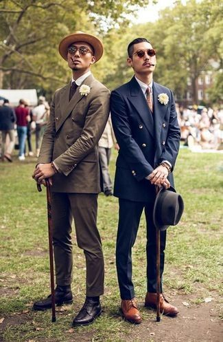 Photo of Men's Tan Leather Brogue Boots, Navy Dress Pants, Navy Doubl…