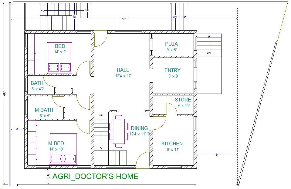 Agri Doc Residence 40x60 North East Facing Site Vastu Plan 3d View E6