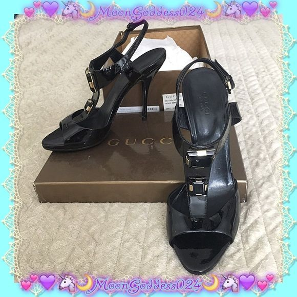 6a0c0ee3566 GUCCI ~ Sand Pelle S Cuoio Nero T-Strap Gem Heel  ~  100% AUTHENTIC ...