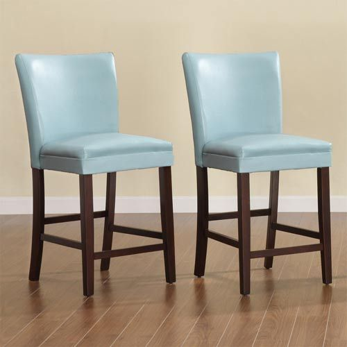 Homehills Sky Blue 24 Inch Parson Bar Stools Set Of Two Bar
