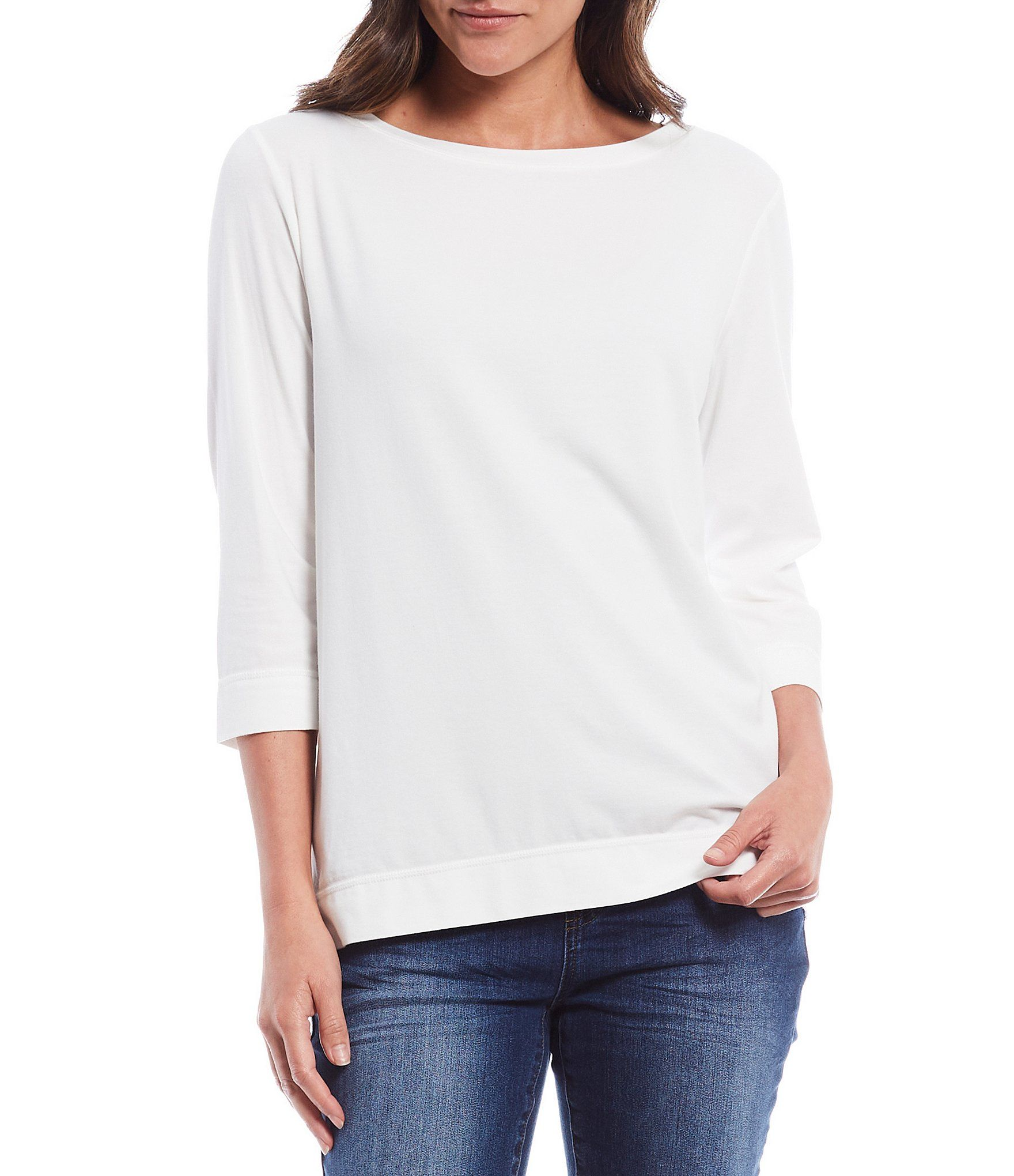 From Westbound, this tee features:Boat neckline3/4 sleevesstraight hemline pullover constructionCotton/modal/spandexMachine washImported.
