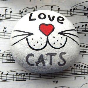 Liebe Katzen von Hand bemalt Stein Katze Wangen und Whiskers   Etsy