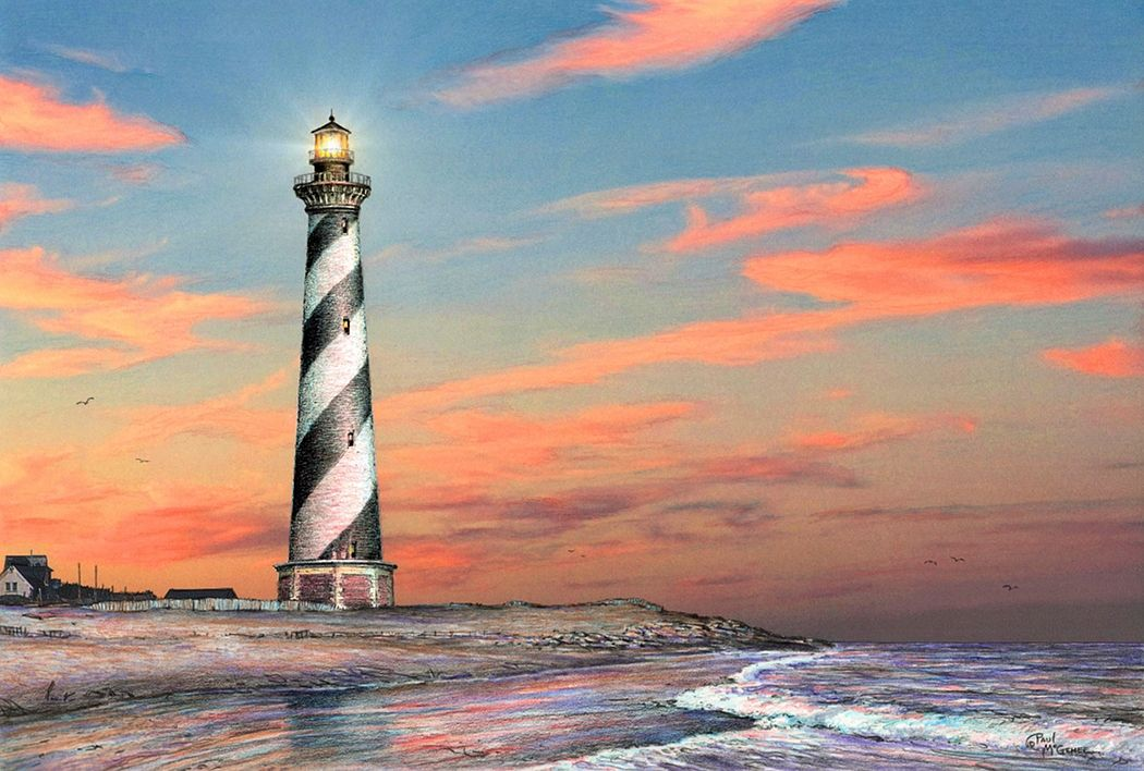 """""""Cape Hatteras Lighthouse"""" by Paul McGehee. The iconic North Carolina lighthouse as it appeared many years ago. A beautiful, hand-signed limited edition print (only 500 copies) from McGehee's original color pencil drawing. Image size: 10 1/2"""" x 15 5/8"""". Price: $100.00 S/N."""