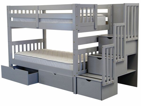 Bunk Beds Twin Over Twin Stairway Gray 2 Extra Drawers