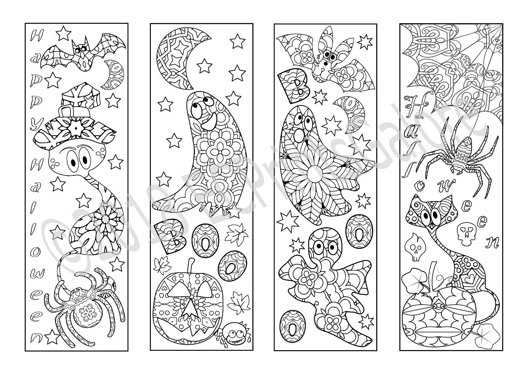 Halloween Coloring Bookmarks Printable Halloween Bookmarks Pdf Etsy Coloring Bookmarks Halloween Coloring Halloween Coloring Pages