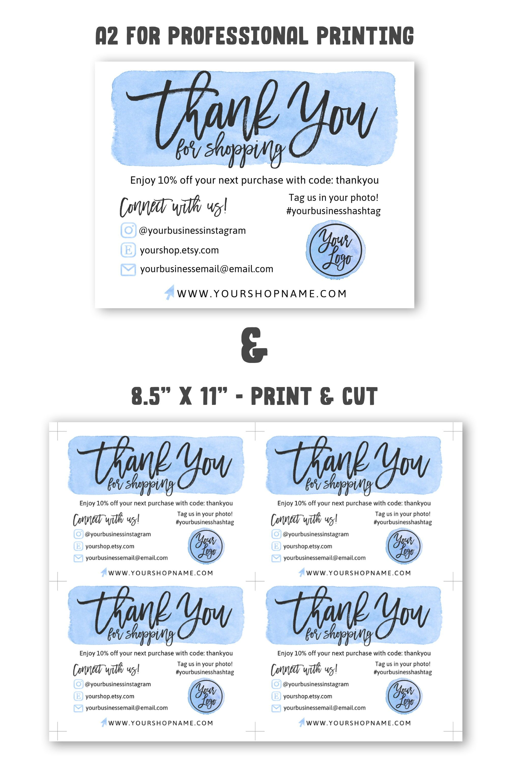 4 Diy Templates Thank You For Your Order Card Blue Gold Etsy Business Thank You Cards Business Thank You Business Thank You Notes