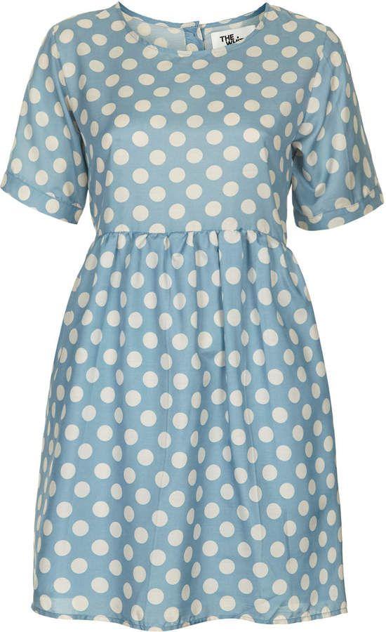 Shop Topshop Blue Polka Dot T-Shirt Smock Dress for  110  http   867fe4db0adaf