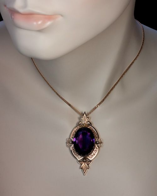A victorian amethyst and gold pendant circa 1870 an ornate openwork a victorian amethyst and gold pendant circa 1870 an ornate openwork 14k rose gold victorian mozeypictures Choice Image