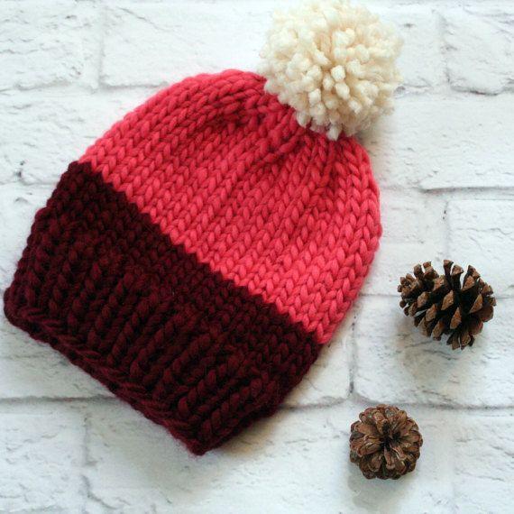 Women's Winter Knit Hat // PomPom // Colorblock by KizzyKnits