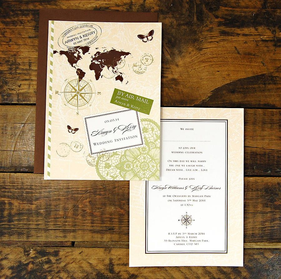 Not this invite specifically but i liked seeing a vintage travel are you interested in our travel wedding invitation with our destination map wedding invitation you need look no further monicamarmolfo Image collections