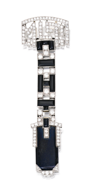 ART DECO PLATINUM, ENAMEL, ONYX AND  DIAMOND LAPEL-WATCH, LA CLOCHE, PARIS Of geometric design, composed of onyx and black enamel segments supported by the monogram 'MLT,' set with numerous old European and single-cut diamonds weighing approximately 2.60 carats, mechanical movement, signed La Cloche Paris, with French assay marks; circa 1925.