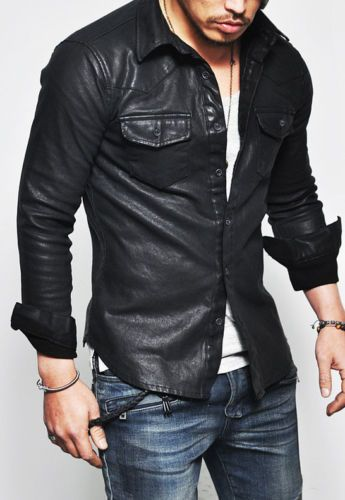 56409b2e805 New Men Designer Genuine Lambskin Black Soft Biker Leather Jacket Shirt All  SIZE  FashionFiesta  Motorcycle