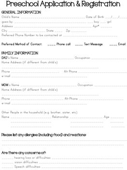 Preschool Application  Registration Form  Registration Form Pre