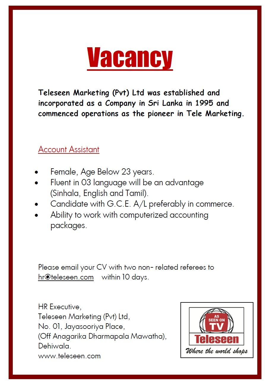 Account Assistant At Teleseen Marketing Pvt Ltd Careerfirst Accounting Jobs Job Ads Assistant Jobs