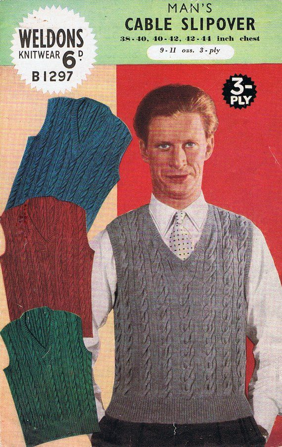 cdf003547cef Mens Cable Slipover Knitting Pattern PDF 1940s Classic Tank Top ...