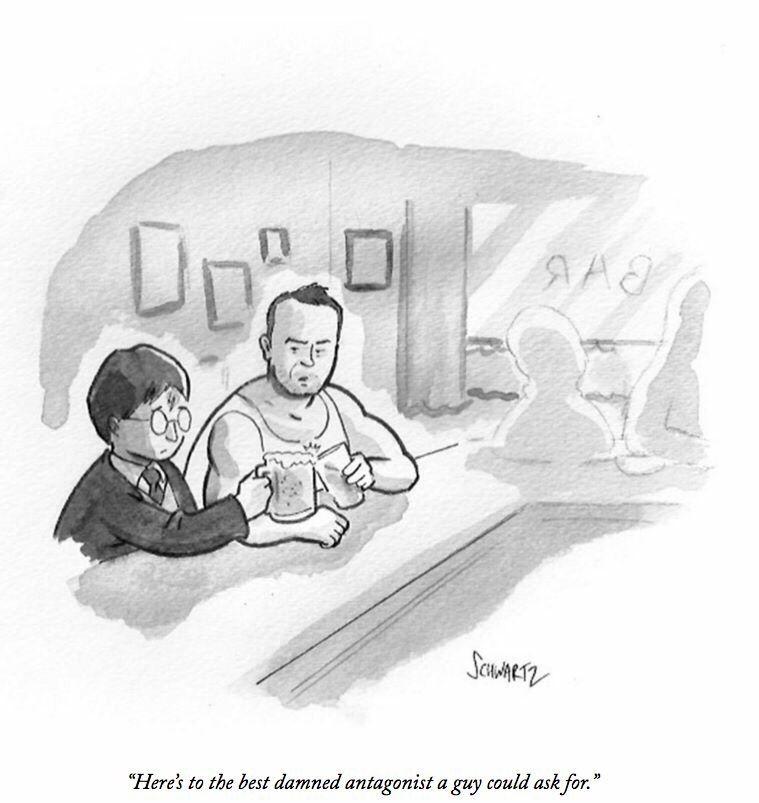 cartoon by Benjamin Schwartz about Alan Rickman. Just found out that he died.