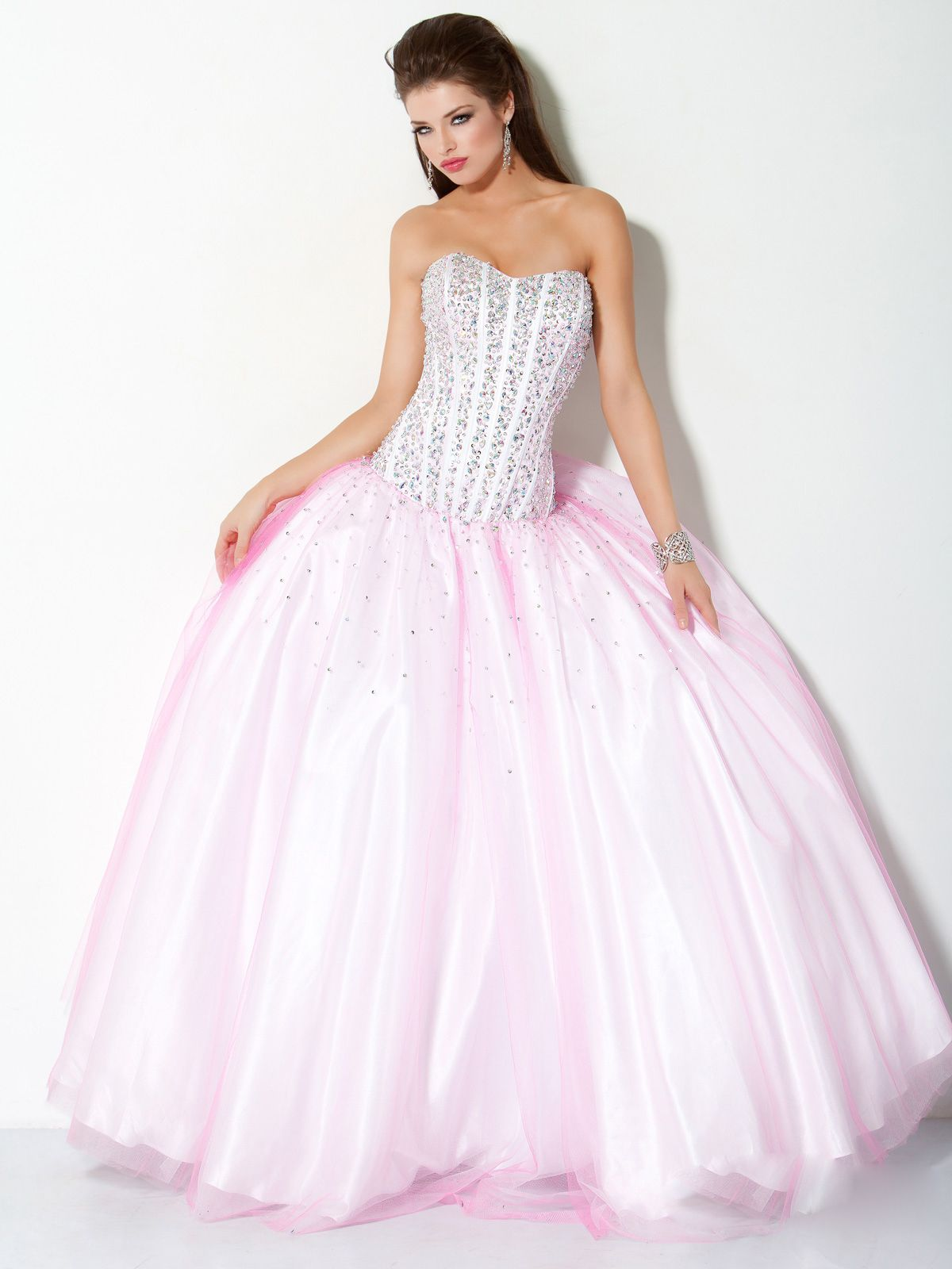 5156b910bbed Ball Gown Organza Sweetheart Natural Waist Floor-Length Lace-up Sleeveless Beading  Prom Dress, pale pink