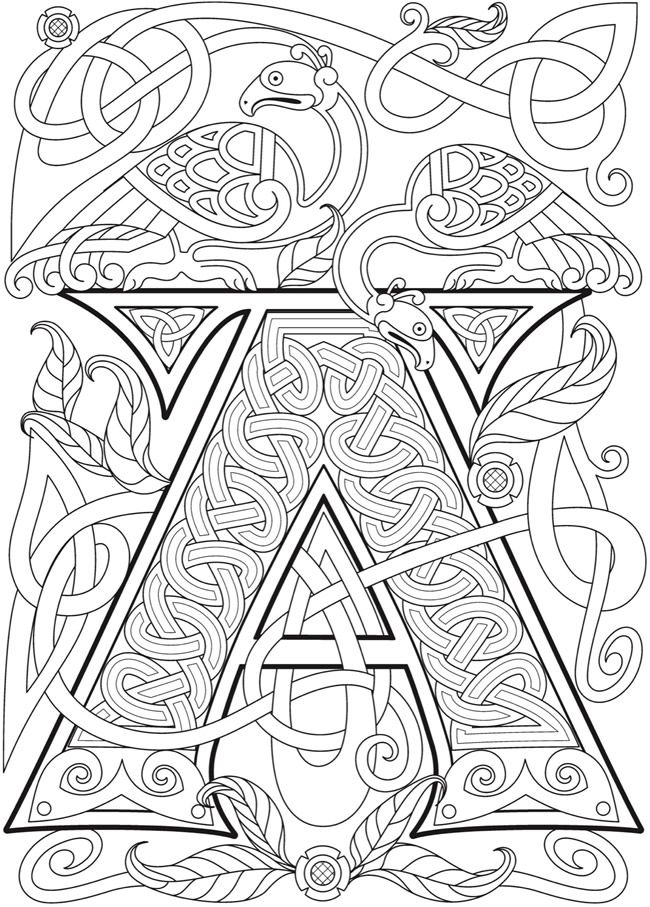 Pin By Helen Weber On Colour Me Celtic Alphabet Vintage Coloring Books Celtic Coloring