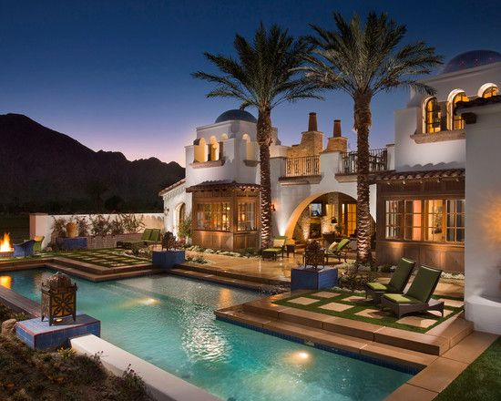 Luxurious Traditional Spanish House Designs Beautiful Patio With Swimming Pool Spanish Revival Andalus Hacienda Style Homes Spanish Style Homes Hacienda Homes