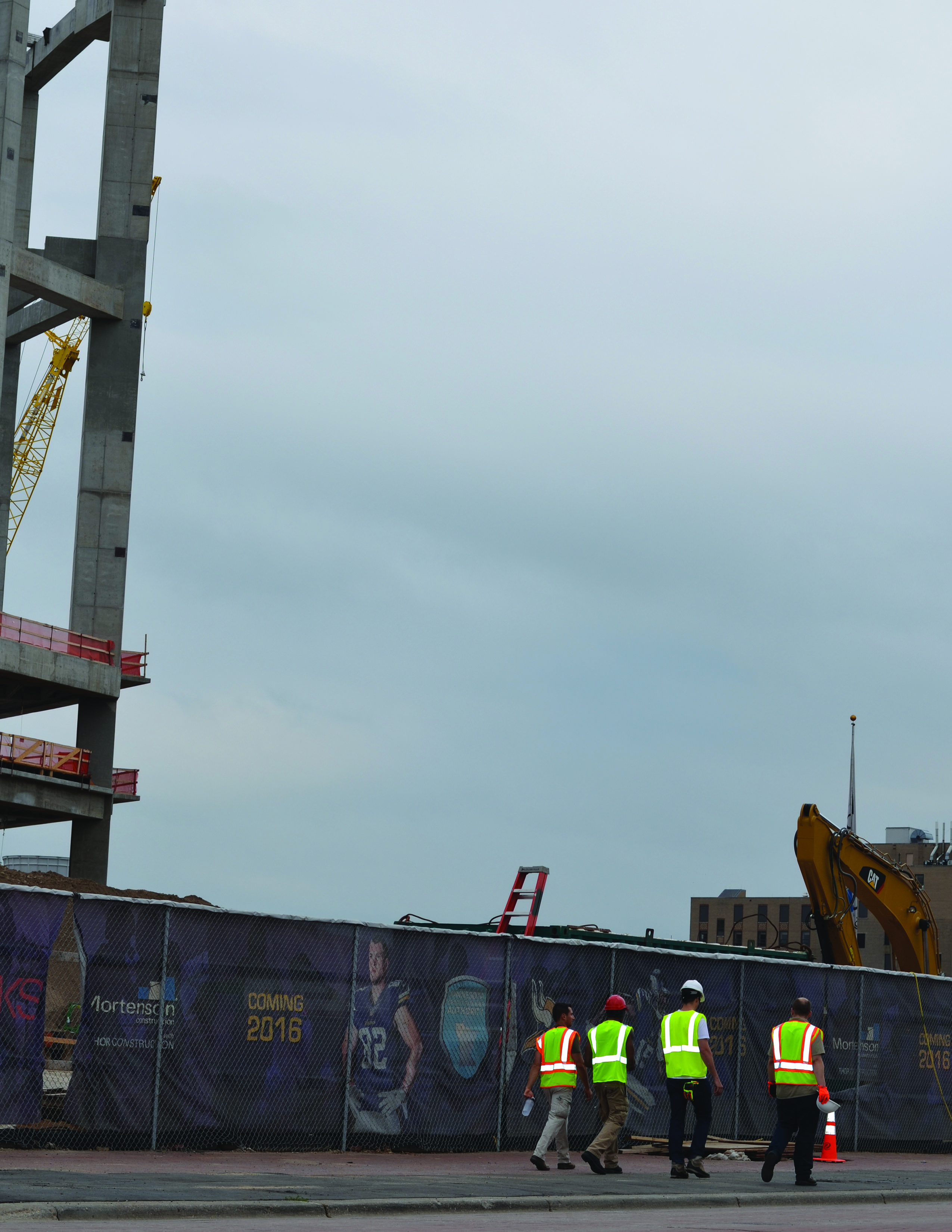 Viking Stadium job site. workers vikings hivis