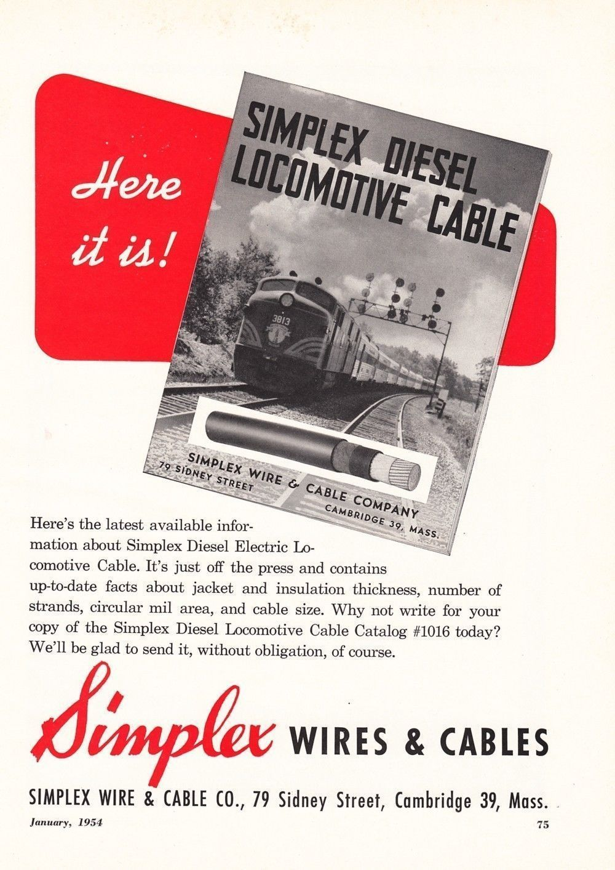 1954 Simplex Wire Cable Ad B M Boston Maine Railroad Engine No 3813 Passenger Train Cable Companies Diesel Locomotive Railroad
