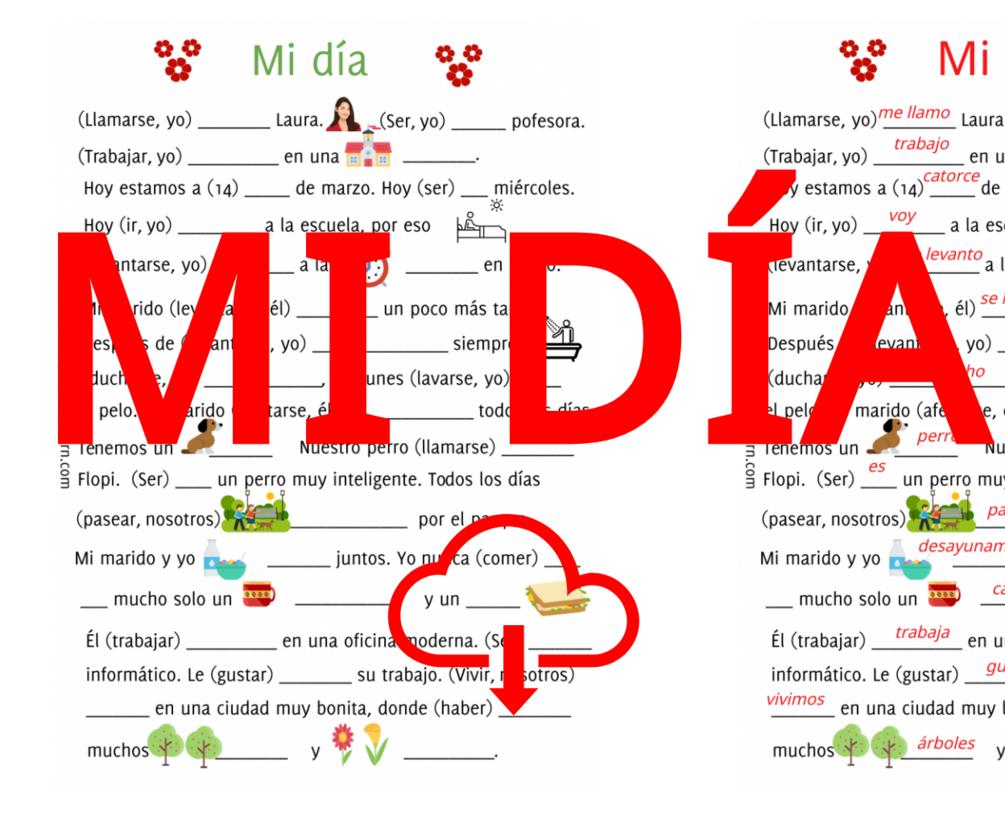 Mi Dia Spanish Worksheets Learning Spanish Spanish Verbs [ 833 x 1005 Pixel ]