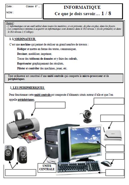 Evaluation Technologie 5eme Informatique Technologie 5eme Informatique Cours De Technologie