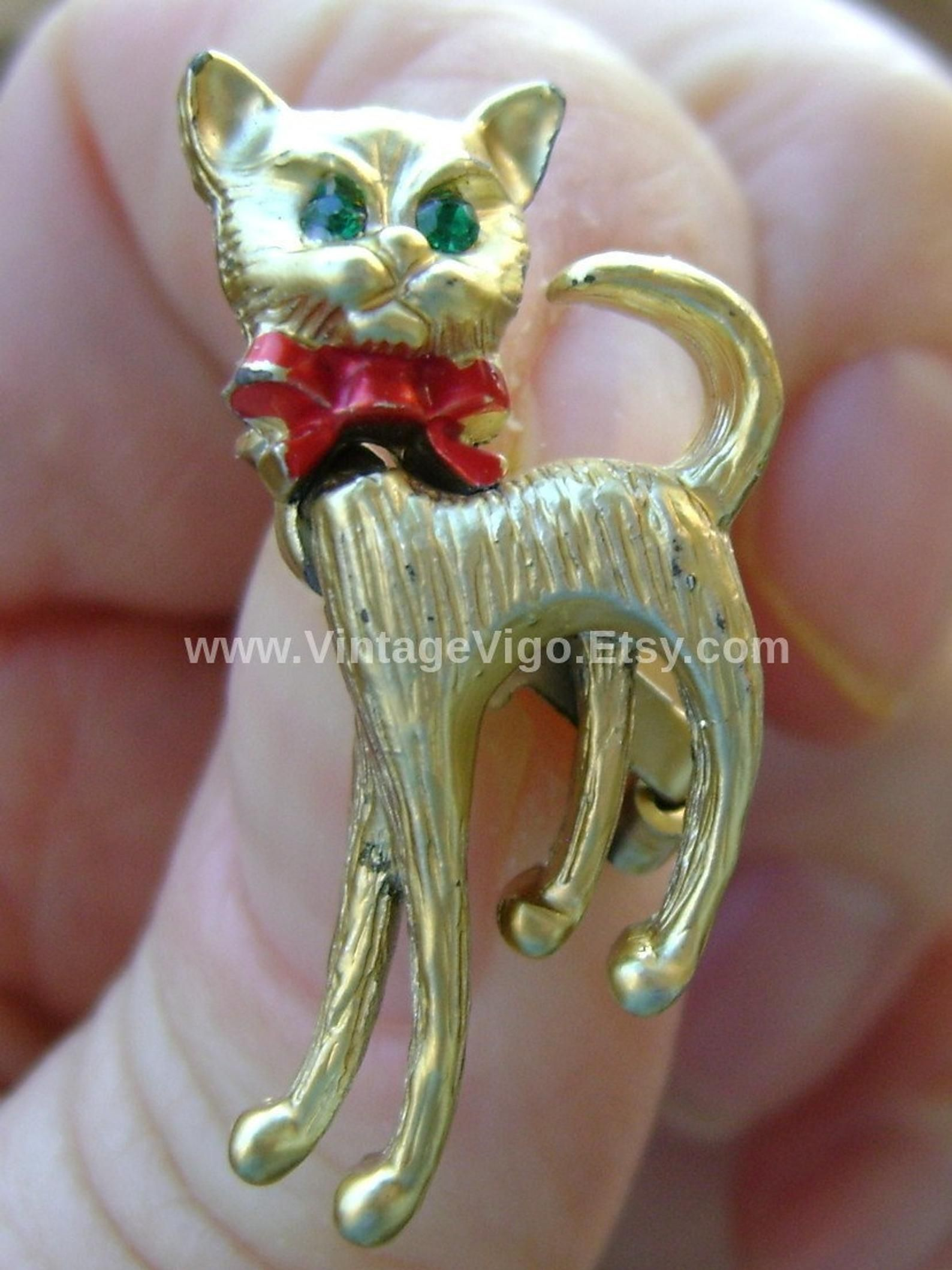 Vintage Jewellry Brooches Pins Cats Kittens Moving Tail Moving Etsy Vintage Cat Brooch Cat Brooch Vintage Cat